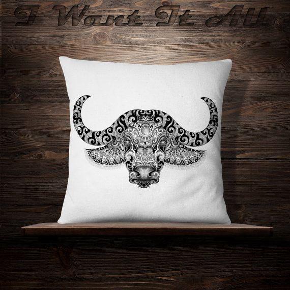 Buffalo | Bull | Tattoo | Yak | Longhorn | Indian Decor | Native American Decor | Throw Pillow | Arrow | Arrowhead | Wildlife | Zoo