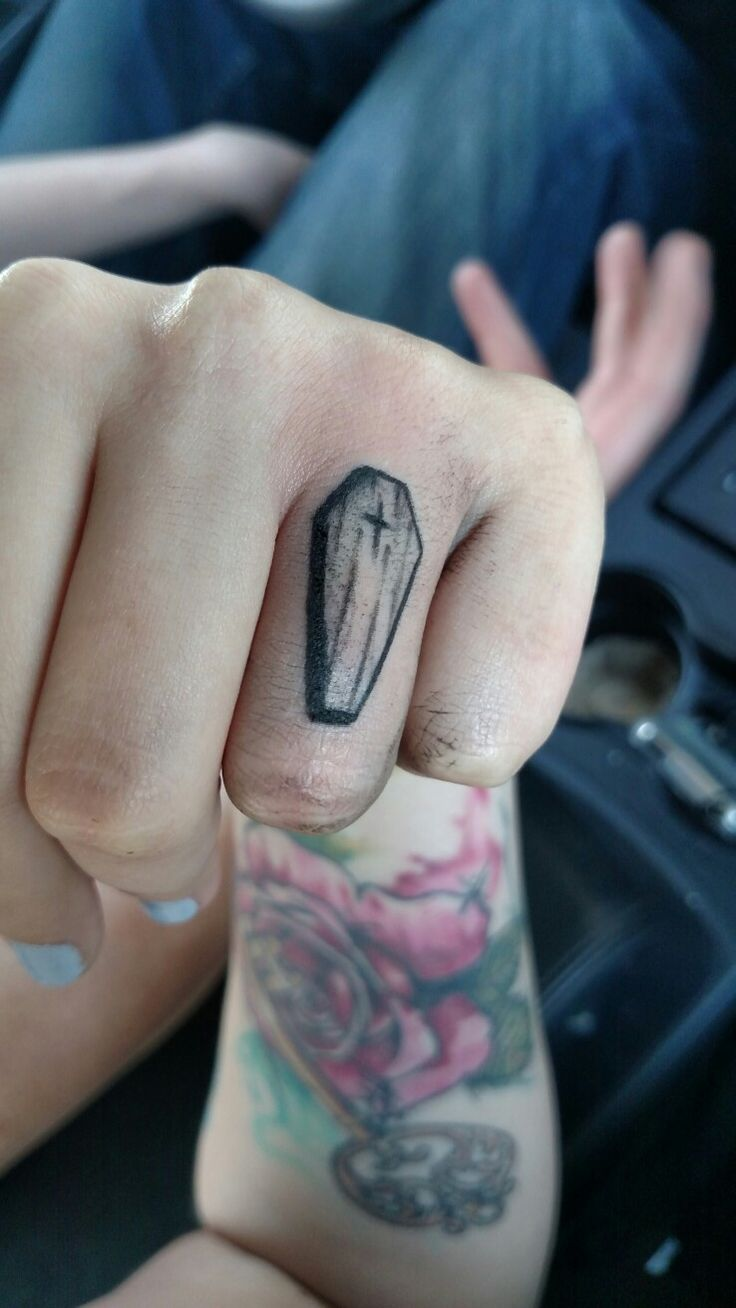 'Till Death when we part. My marriage tattoo.  #painfulfrog #finger #ring #tattoo #marriage #coffin #creepy #wedding #new
