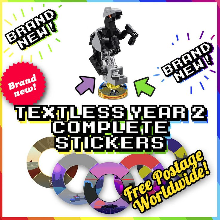 TEXTLESS! YEAR 2 COMPLETE Lego Dimensions Tag Stickers - 32 Designs For Bases