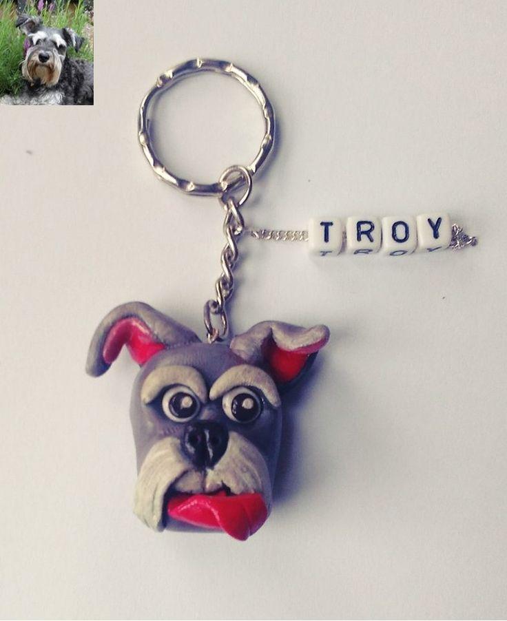 miniature schnauzer, polymer clay, fimo, handmade, dog