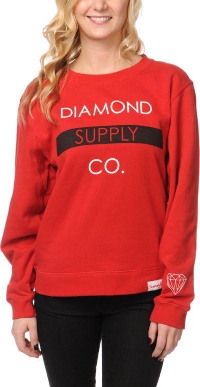 Diamond Supply Co. Girls Bar Red Crew Neck Sweatshirt #fashion #clothes DigitalThreads.co