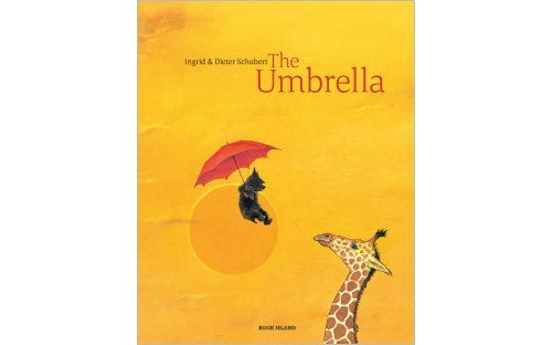 'The Umbrella' by Ingrid & Dieter Schubert | Published by Book Island -  It's a windy, autumn day when a little dog discovers a bright red umbrella in the garden. The umbrella, like a magic carpet, whirls him up into the air and sails him across the world, over continents and oceans, the tropics and polar regions ...   A wonderful wordless picture book that tells a thousand stories.
