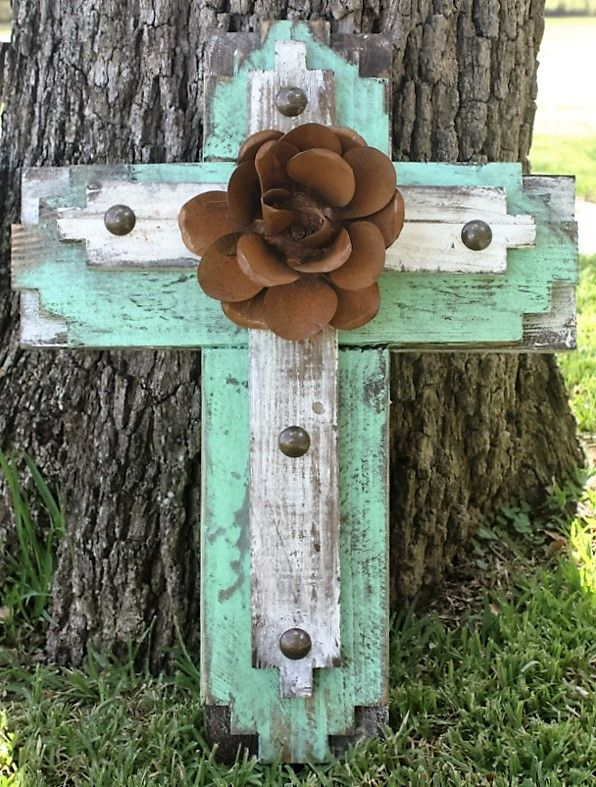 Rustic Handmade Tribal Cross in Shabby Mint and White