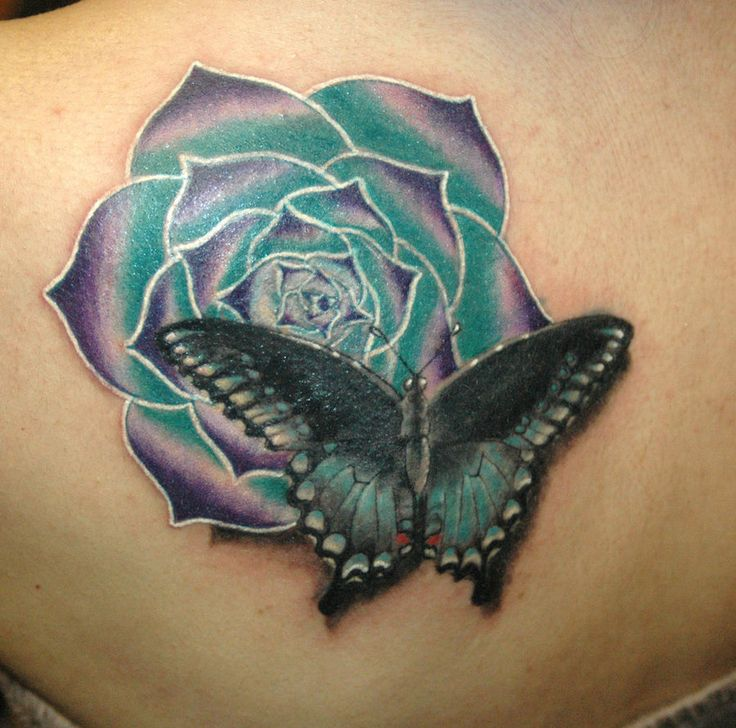 Exotic Flower Tattoos | butterfly with exotic flower by KisBrigi