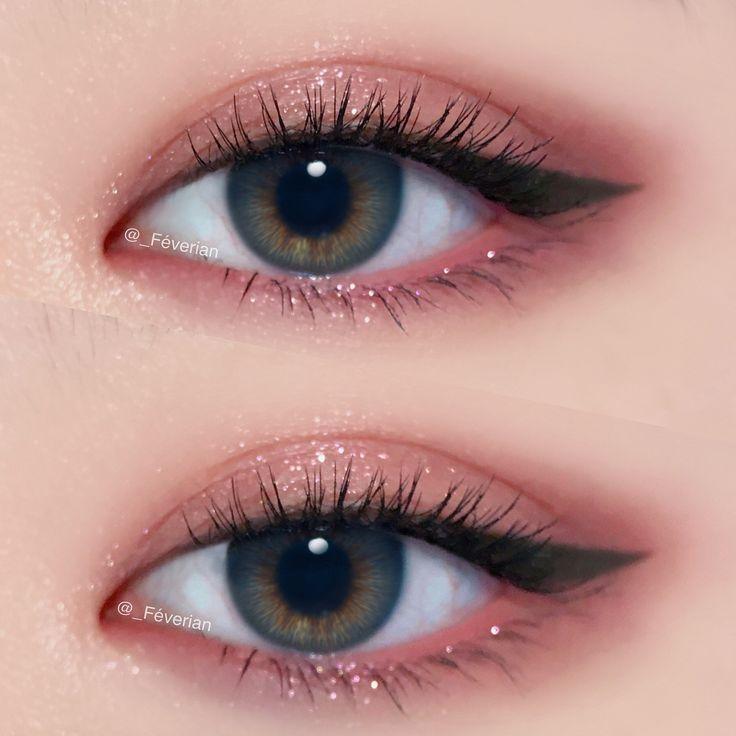 shimmery pink eye make-up w/ winged liner #eyeliner @_feverian