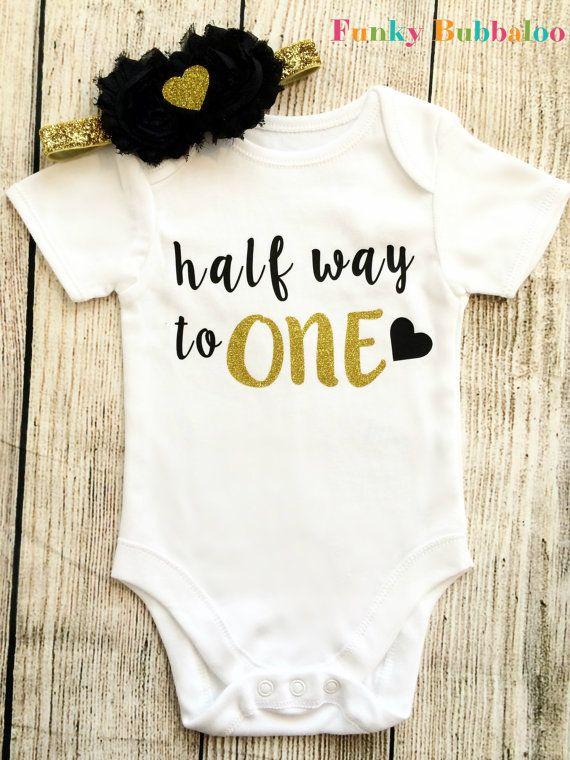 Half Way To One Half Birthday Bodysuit 6 Month Baby Girl Vest