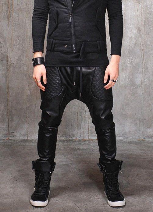 Mens fashion Harem pants; Drop crotch leather pants.