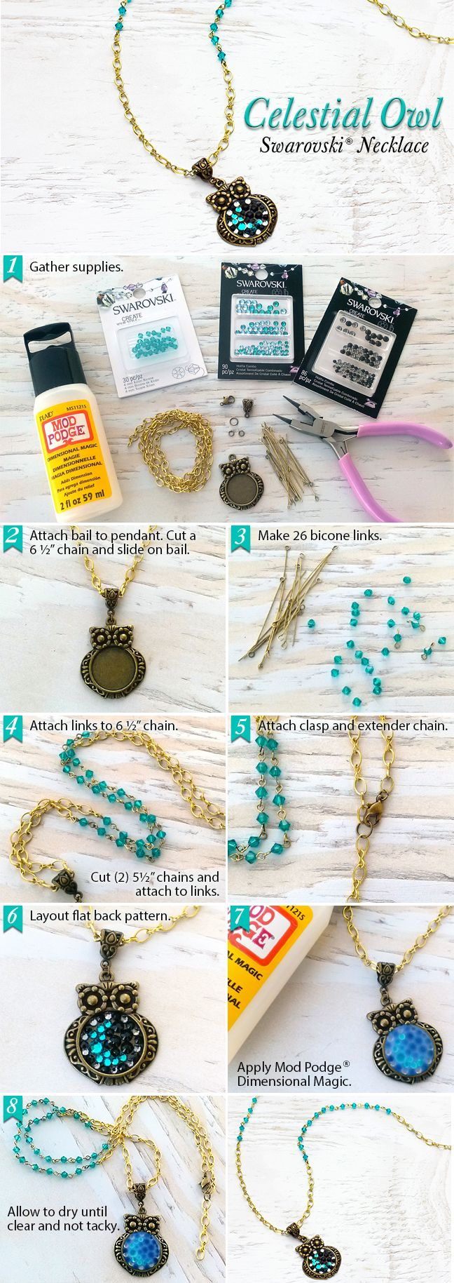 DIY Swarovski Celestial Owl Pendant Necklace