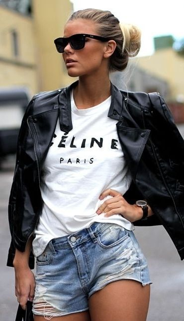 Black leather jacket, Celine white T with destroyed shorts # sunglasses# fashion trend# street style GG's Tiny Times ♥