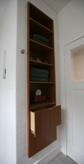 for bedroom side of walk in shower built in linen cabinet and or