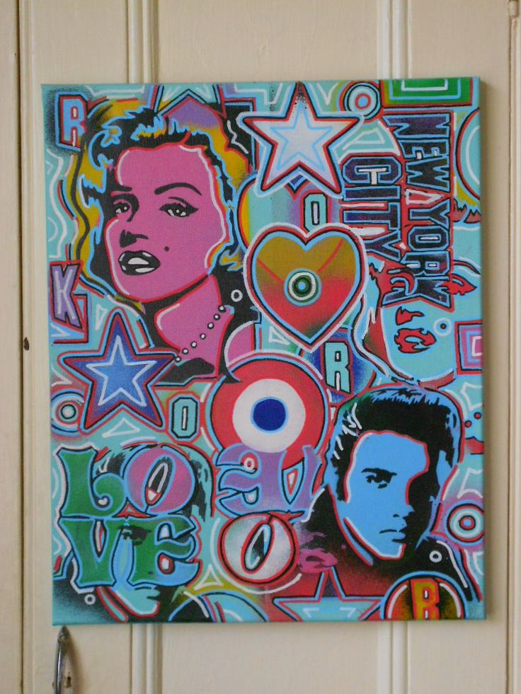 pop art painting on canvasstencilsposca & by AbstractGraffitiShop, $90.00