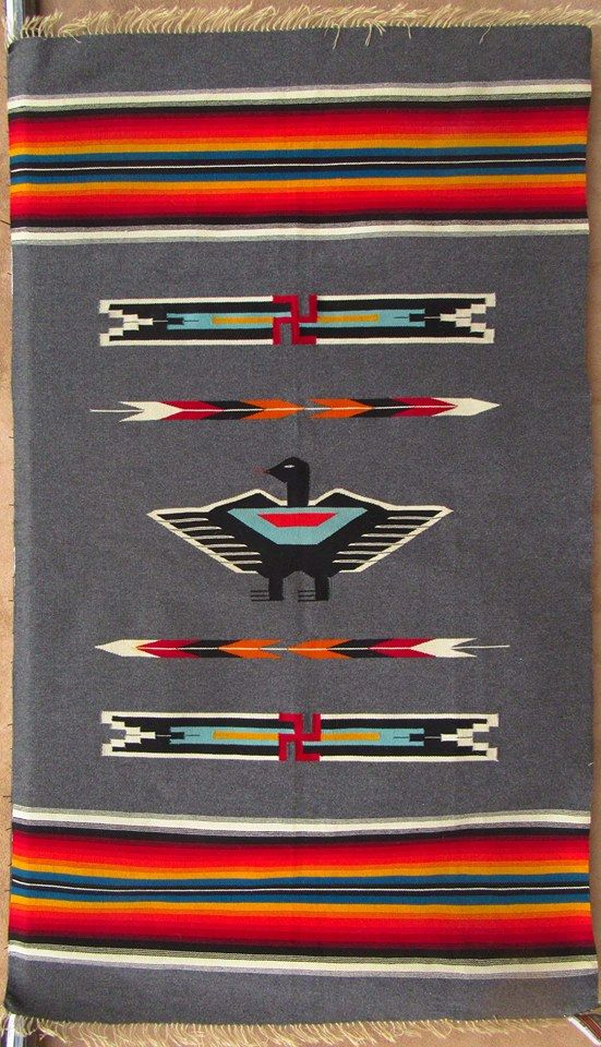 Vintage Chimayo Thunderbird Rug With Whirling Log 1930 S Or Earlier From Rainbow Man In Santa Fe