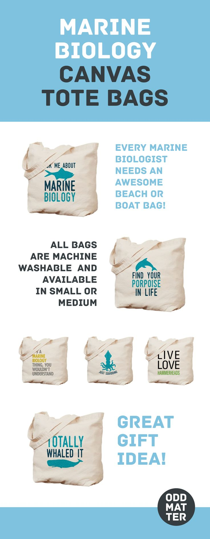 These Durable Heavyweight Canvas Totes With Cute Underwater Designs And Funny Puns Are Perfect For Toting Your Gear To