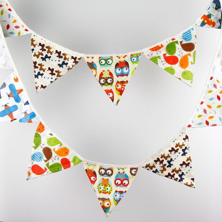 Goedkope 3.2 m 12 Vlaggen Uil Cartoon Handgemaakte Stof Bunting Banner Kid's Birthday Benodigdheden Baby Douche Woondecoratie, koop Kwaliteit Event& party benodigdheden rechtstreeks van Leveranciers van China:      De gors is snoep kleuren, kan worden gewassen, zodat he