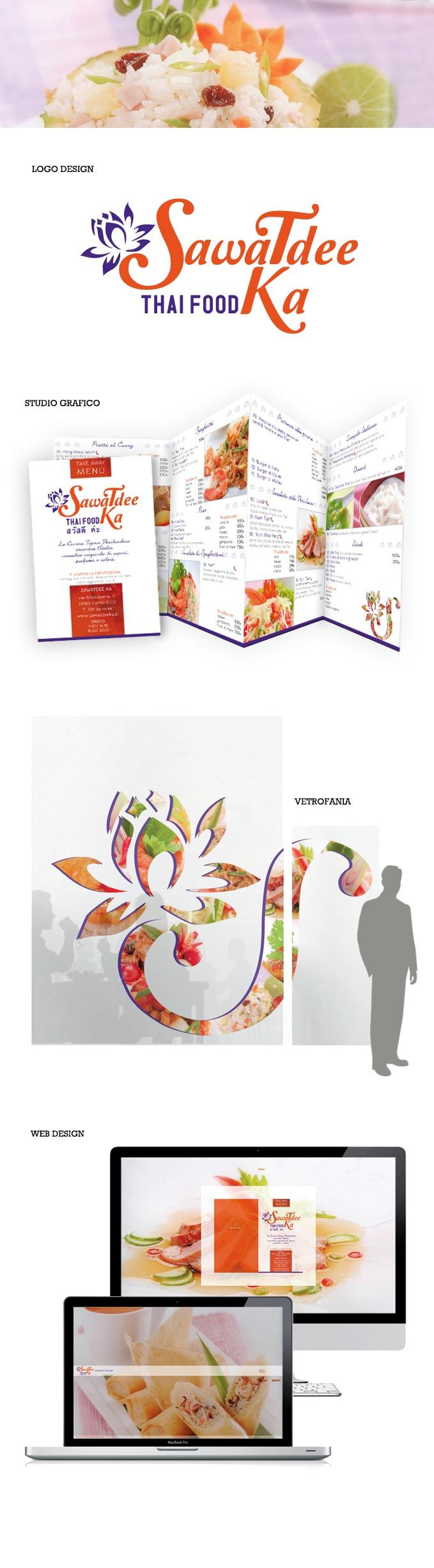 SAWATDEE KA - Logo Design, Studio grafico e Web design - Può una Vetrina stimolare l'appetito? Abbiamo curato l'immagine coordinata. Dal Brand alla Vetrofania. Il Menù è completo e accattivante grazie alla scelta cromatica vicina ai profumi e sapori del vero cibo Thailandese.
