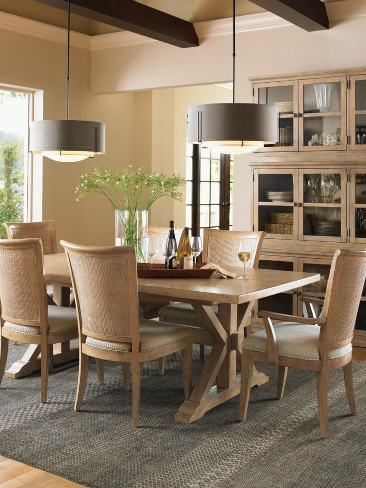 Elegant Lexington Monterey Sands Walnut Creek Dining Table And Los Altos Chairs Set  In Sandy Brown By Dining Rooms Outlet