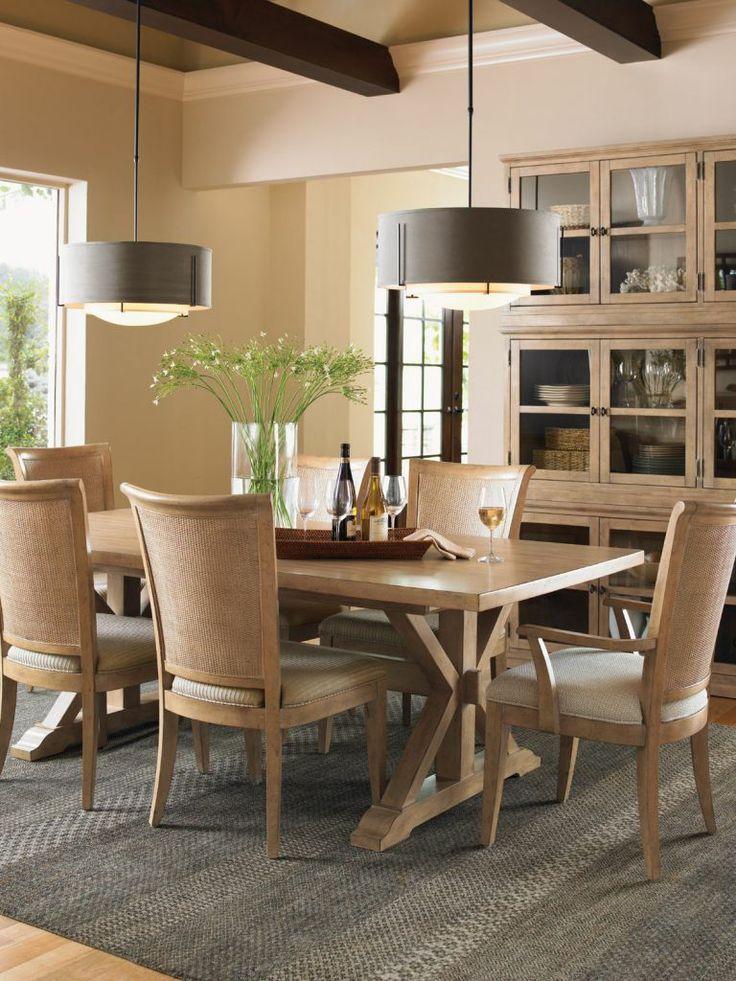 7 Piece Monterey Sands Rectangular Trestle Dining Table Set, Lexington,  Monterey Sands Collection