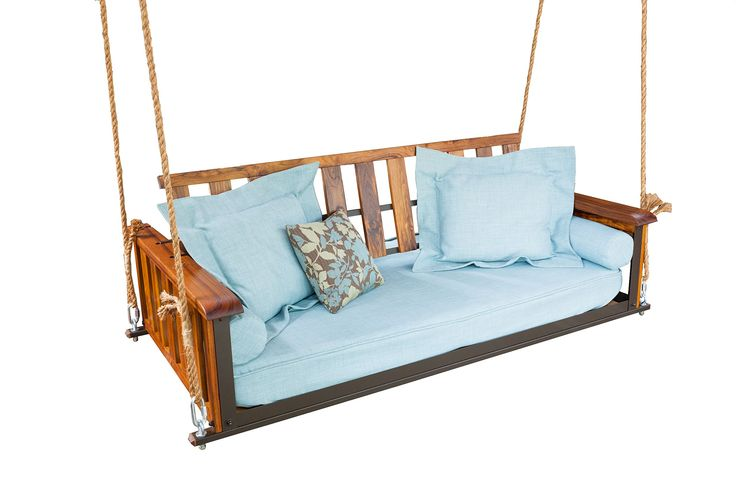 Teak Craftsman Bed Swing. Adjustable back allows you to enjoy this product as a swing or a bed!. Beautiful oiled teak wood is great for outdoor use. Metal frame makes the bed swing stronger but also more lightweight. Assembly is quick and easy.