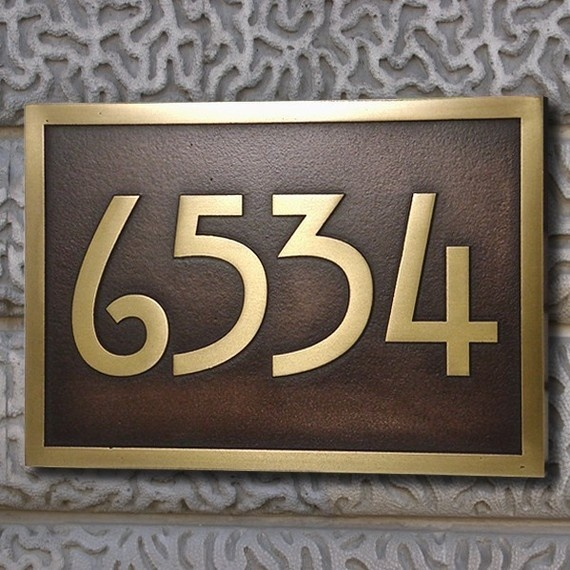 The stickley address plaque home numbers bungalow with for Bungalow house numbers