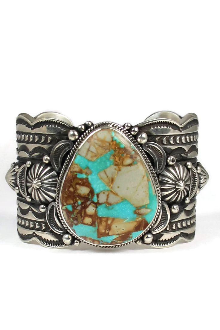 Royston Ribbon Turquoise Cuff Bracelet by Gene Natan - Southwest Silver Gallery