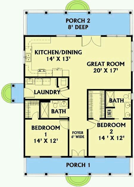 Cabin plan.  vey livable small home.