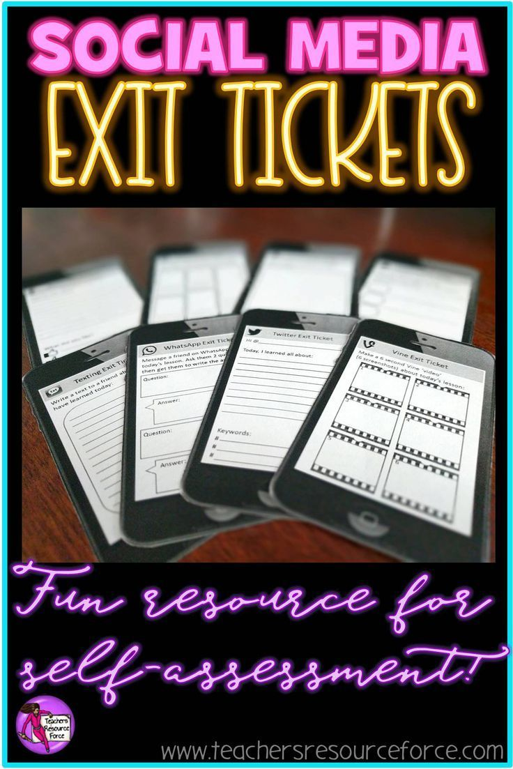 Self assessment for students. Check your students' understanding with social media exit tickets and engage your students with media they are already so familiar with! Great for self reflection. /resourceforce/