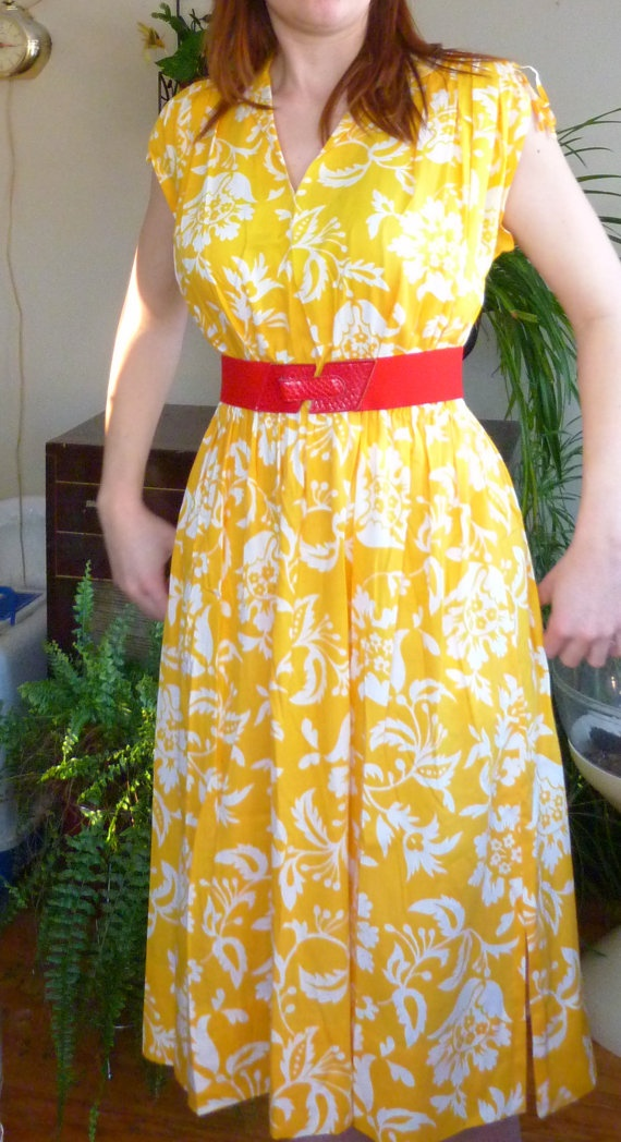Beautiful 1960's Dress Sunny Yellow Floral with by RavishingRetro, $30.00
