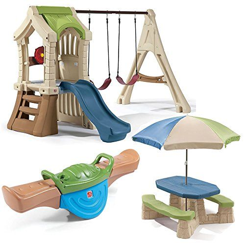 Great gift idea Step2 Swing Set and Backyard Playset Comb Includes Plastic Swing Set, Kids Picnic Table, Teeter Totter