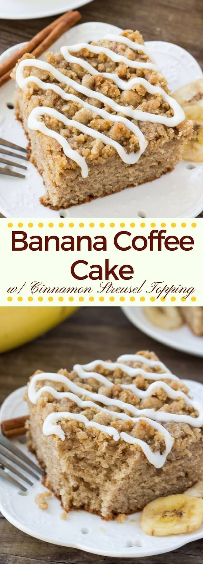 Instead of making banana bread - try this banana coffee cake. It's a deliciously moist banana cake filled with cinnamon, brown sugar and vanilla. Then it's topped with crunchy cinnamon struesel and a drizzle of vanilla glaze. #bananacake #coffeecake #bananacoffeecake #streusel