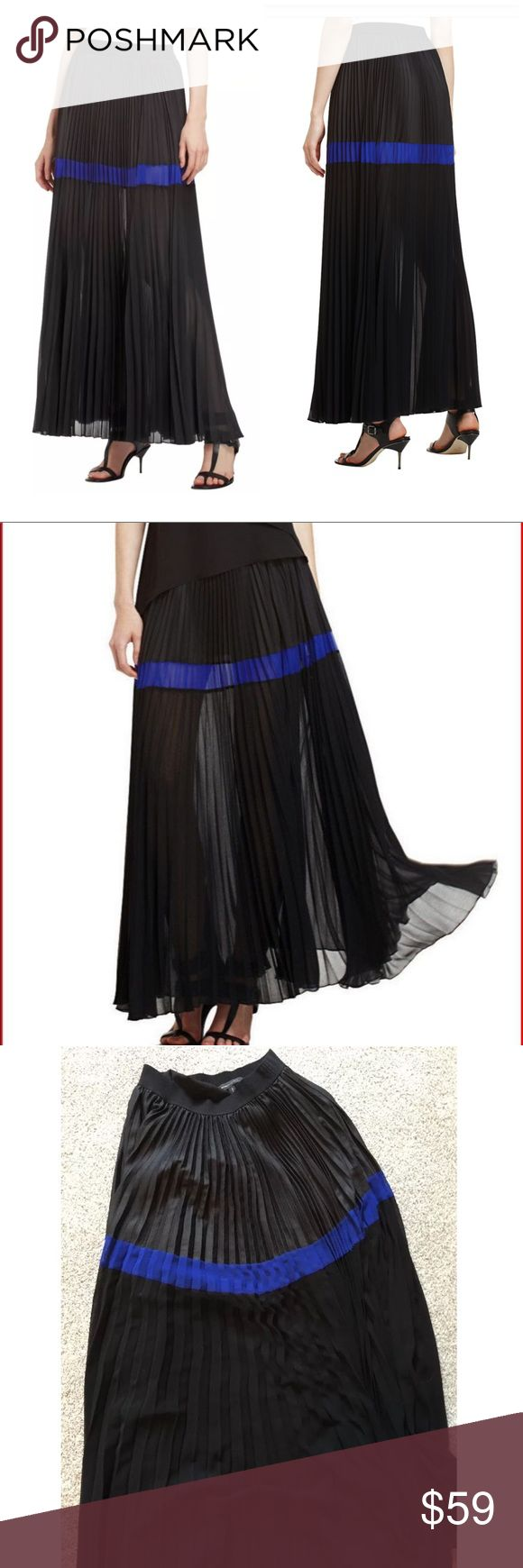 """Bcbg dallin B pleated maxi long black skirt XXS A timeless, floor-grazing skirt in smooth, pleated chiffon that sways gracefully against your curves as you move, and is detailed with an elastic waistband to ensure an ideal fit.  Pull-on Fabric: 100% polyester chintz chiffon; Lining: 100% polyester crepe de chine Washable, dry clean recommended Measurements: Waist: 11"""" /  Length from waist to hem: 39""""  Condition:   Great pre-owned condition!  -Fiber and style name tag was removed inside…"""