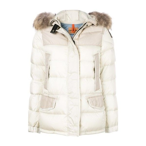 P.J.S. Furry Trim Puffer Jacket ($907) ❤ liked on Polyvore featuring outerwear, jackets, white, feather jacket, pu jacket, white jacket, parajumper jacket and white puffer jacket