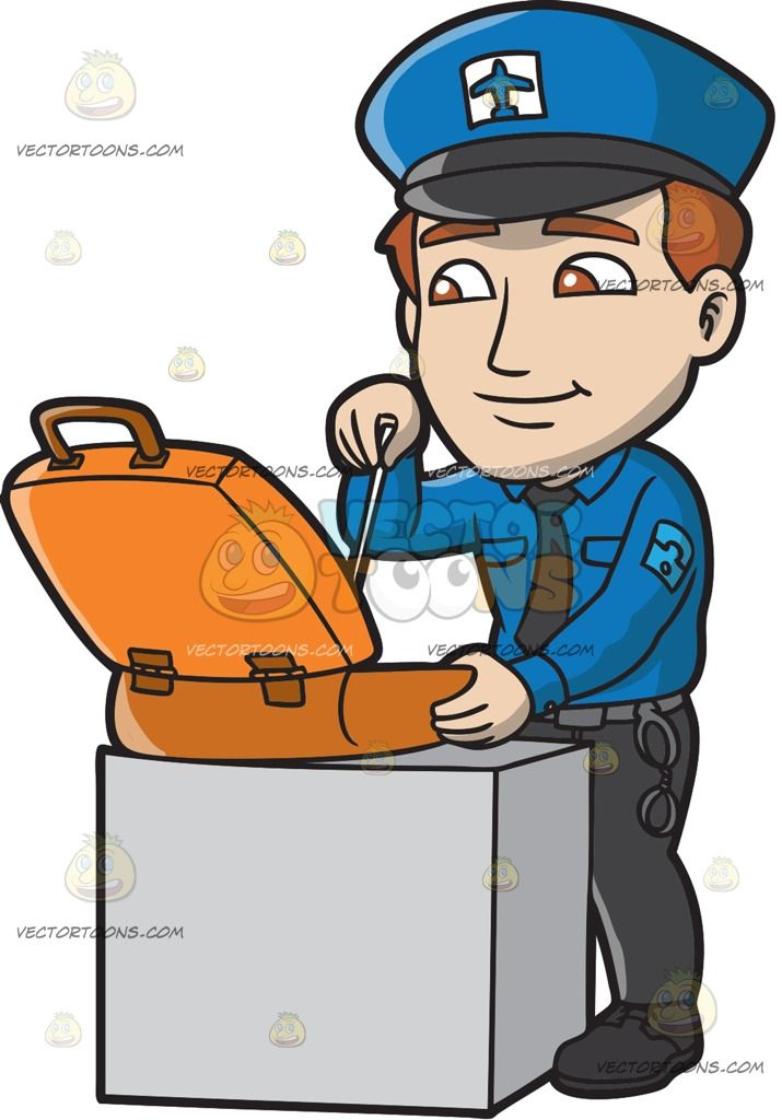 A Male Airport Security Guard Inspecting A Suitcase :  A man with reddish brown hair wearing a blue cap with black brim and a white and blue airplane patch blue long sleeve polo shirt black necktie black pants and shoes gray belt with hand cuffs smirks while inspecting an orange suitcase placed on top of a light gray platform desk right hand holding a stick for inspection  The post A Male Airport Security Guard Inspecting A Suitcase appeared first on VectorToons.com.  #clipart #vector…