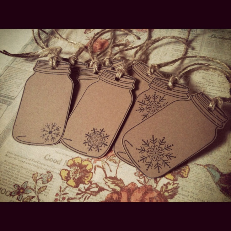 Christmas Mason Jar Tags Kraft Brown Cardstock Snowflake Gift Tags Mason Jar…