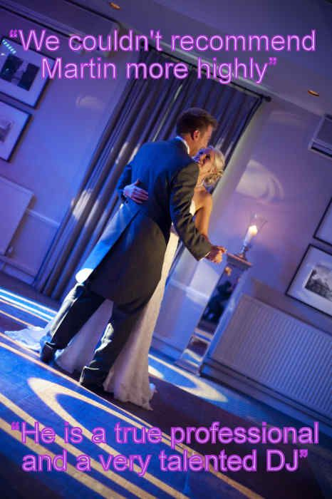 A beautiful first dance at Warbrook House with stylish colour matched blue lighting. - DJ Martin Lake