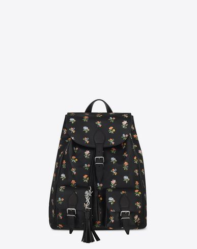 SAINT LAURENT FESTIVAL BACKPACK IN BLACK AND MULTICOLOR PRAIRIE FLOWER PRINTED LEATHER | YSL.COM