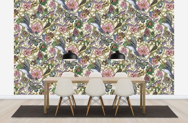 Budgies Offwhite - Large - Fototapeter & Tapeter - Photowall