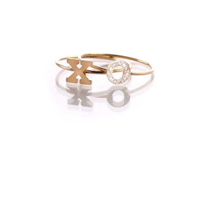 14k gold initial rings