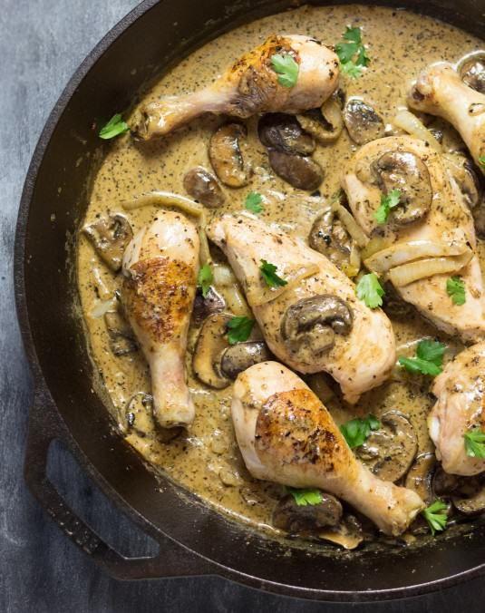 The Most Delicious Chicken Drumstick Recipes -Cast Iron Creamy Mushroom Chicken