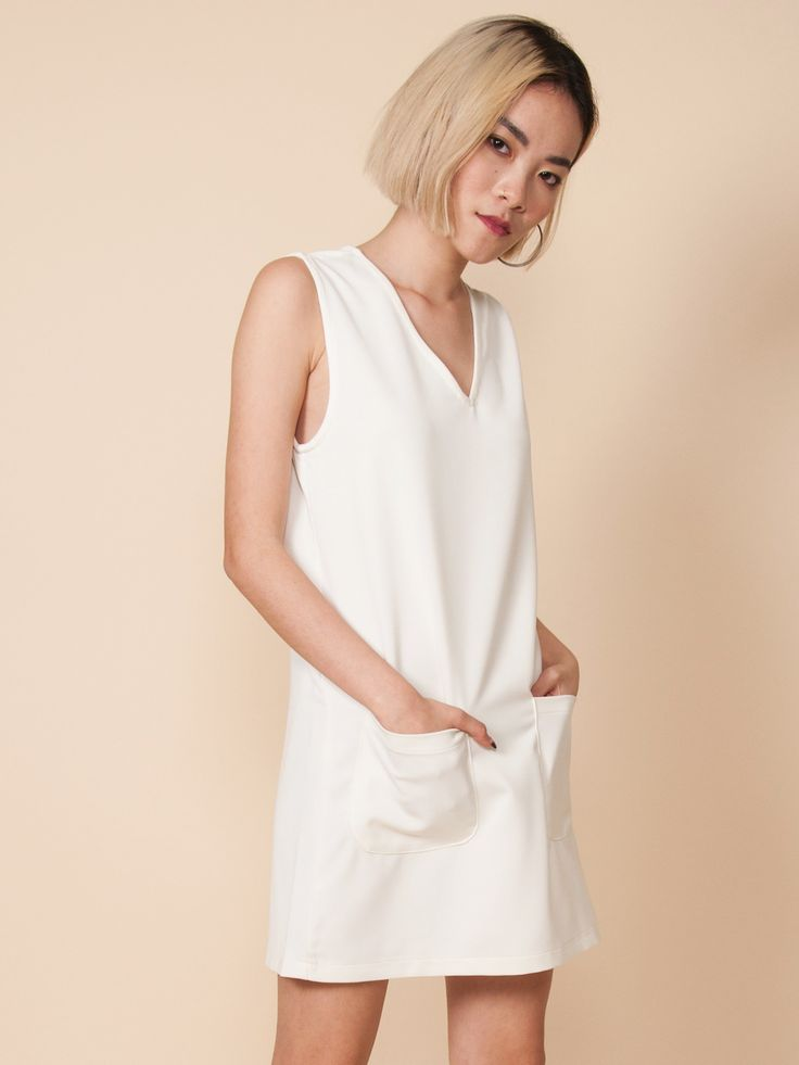 BLAIR V-Neck Pocket Dress (Cream)