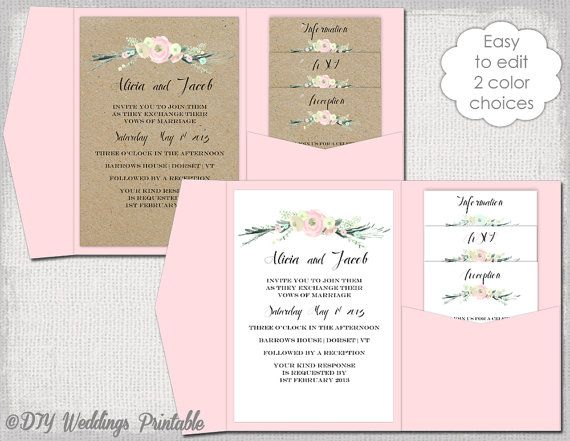 Pocket Einladung Vorlage DIY Pocketfold Von Diyweddingsprintable Wedding InvitationsWedding Invitation