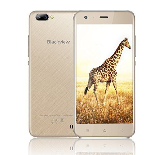 From 59.99 Mobile Phones Unlocked Blackview A7 3g Dual Sim Free Smartphones With 5.0 Inch Hd Ips Display - Android 7.0 Smartphone - Mt6580a Quad Core 1.3ghz - Rear Dual Camera 5.0mp - 2800mah Large Capacity - 8gb Rom - Gold