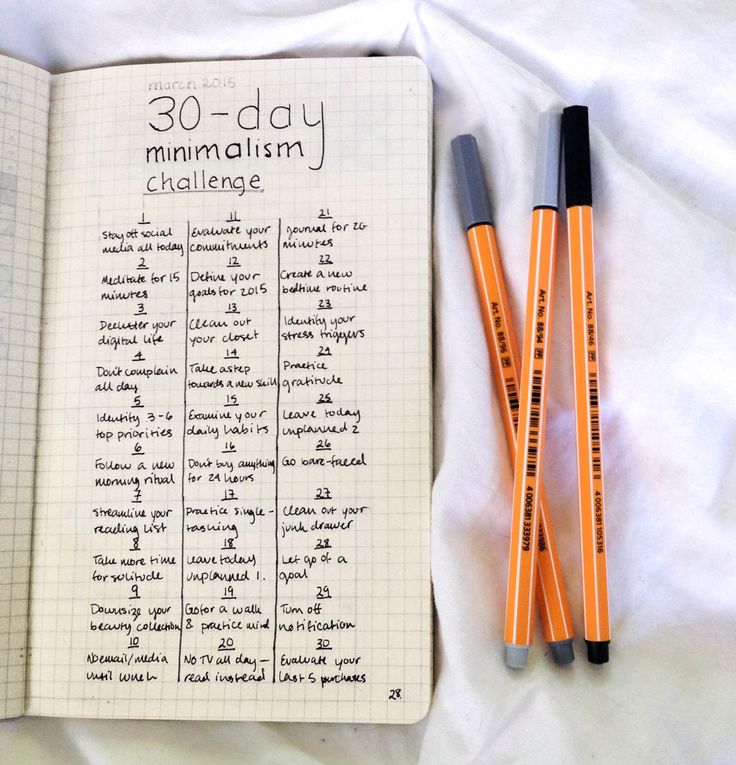 "whitmantra: ""Happy first day of March, everybody! I'm trying out this minimalism challenge that I've seen floating around tumblr, but I've made a couple of changes to the original to add more of the ones that will give me real difficulty (Leave today..."
