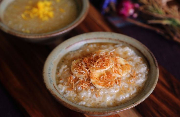 Vegan sago pudding two ways - coconut milk and lemon