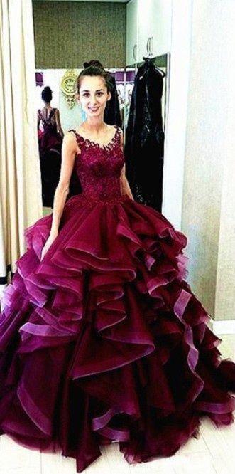New Arrival Ball Gown prom Dresses,Floor-Length prom Dresses,burgundy