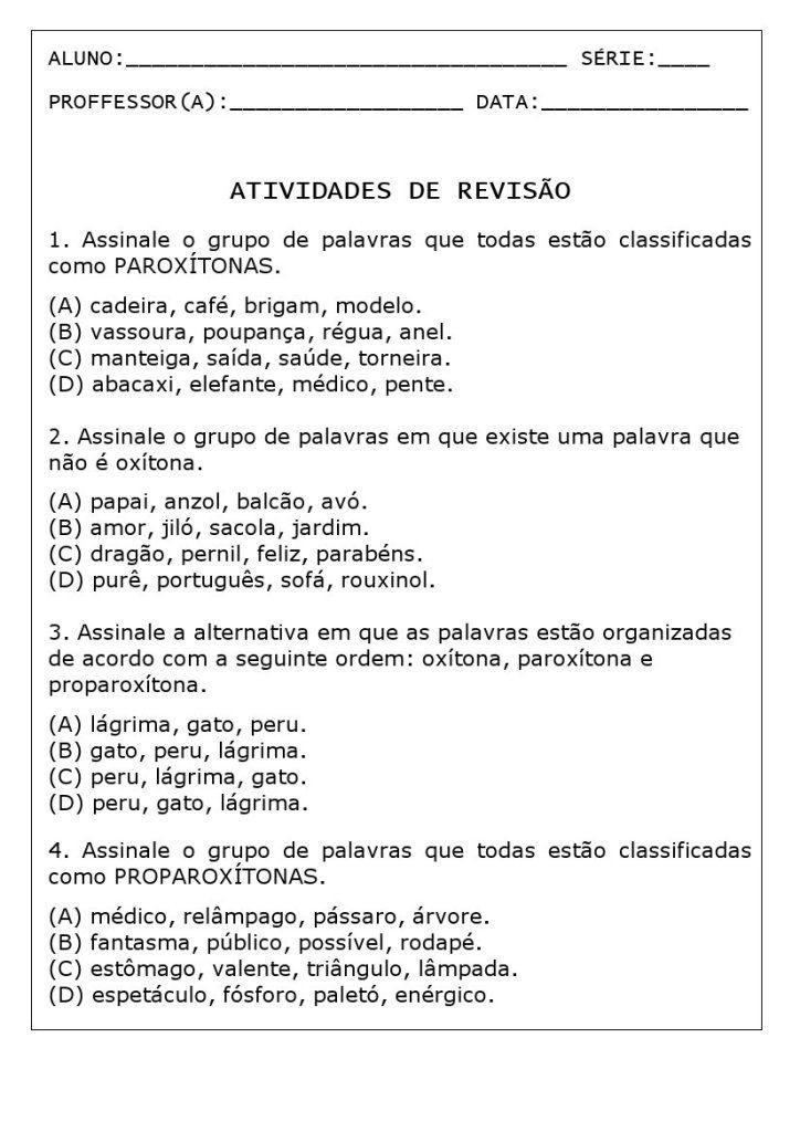 Atividades Silaba Tonica Com Respostas Atividades De Gramatica