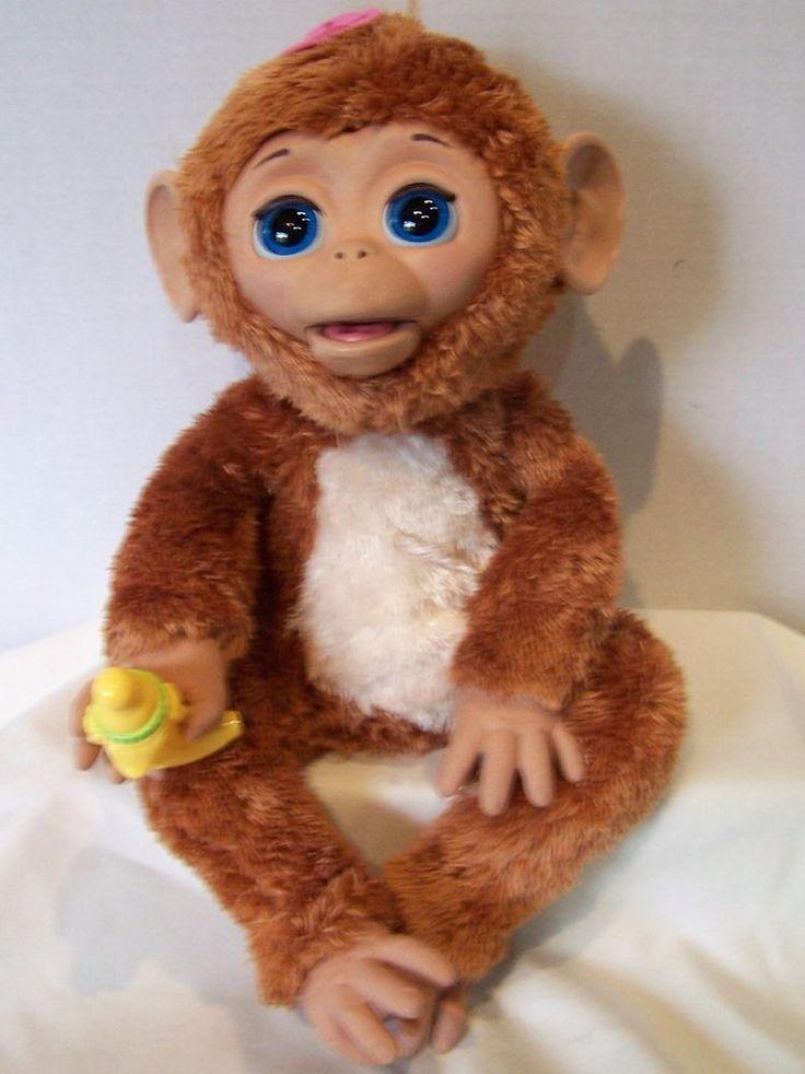 2010 Hasbro FurReal Friends Baby Cuddles brown monkey animated banana pacifier #Hasbro
