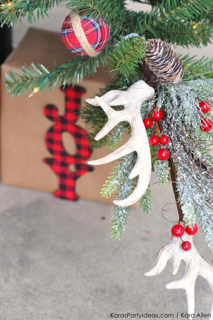 deer antler ornaments rustic plaid farm house cabin tree by kara allen