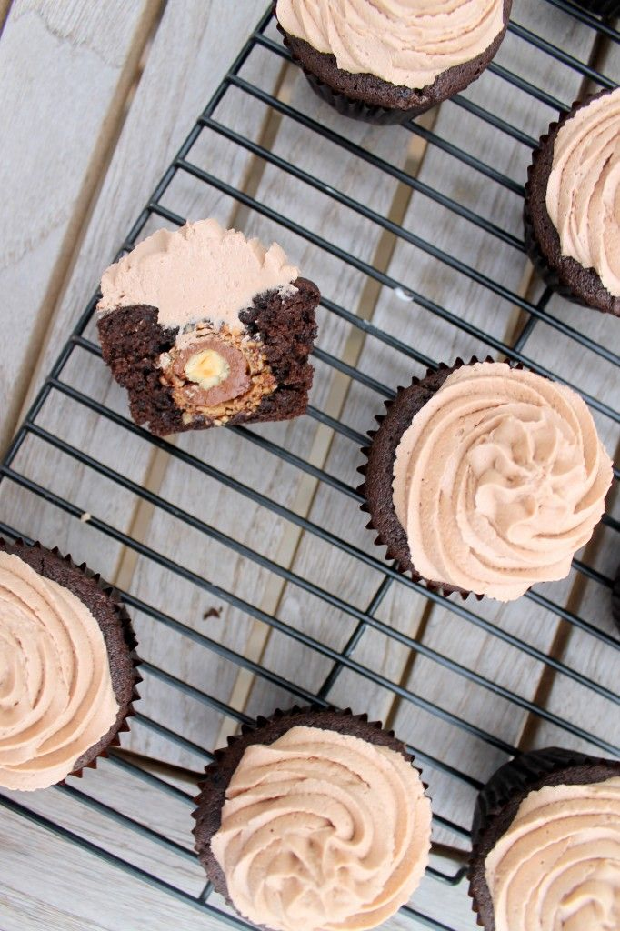 Ferrero Rocher Stuffed Chocolate Cupcakes with Nutella Buttercream....chocolate hazelnut heaven