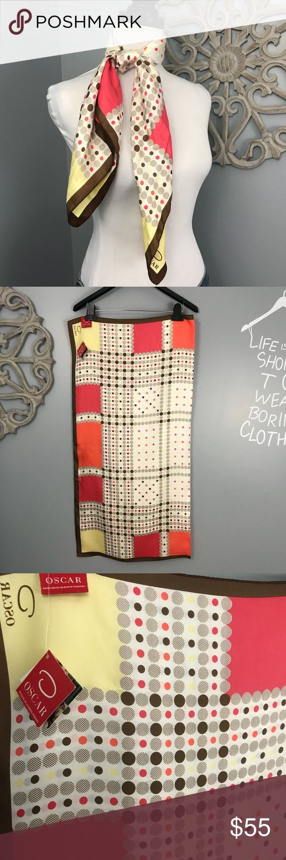 """Oscar De La Renta   Silk Scarf NWT 34"""" x 34"""" silk square scarf with coral, taupe, yellow, pink, and brown dots.   Lovely.  NWT. Oscar de la Renta Accessories Scarves & Wraps"""