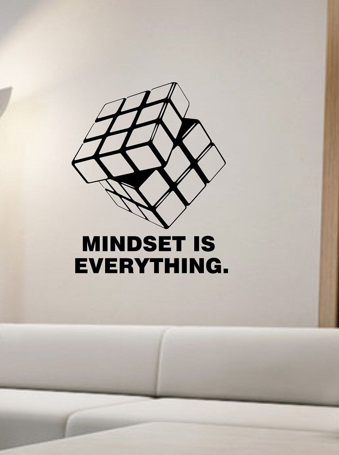 rubik 39 s cube wall decal mindset is everything vinyl sticker art decor bedroom design mural. Black Bedroom Furniture Sets. Home Design Ideas